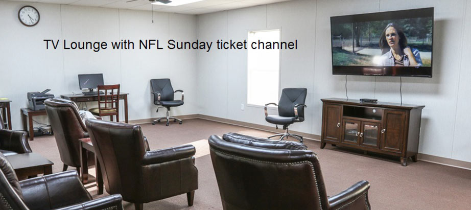 Cuero Oilfield Housing in TV lounge with NFL Sunday ticket channel